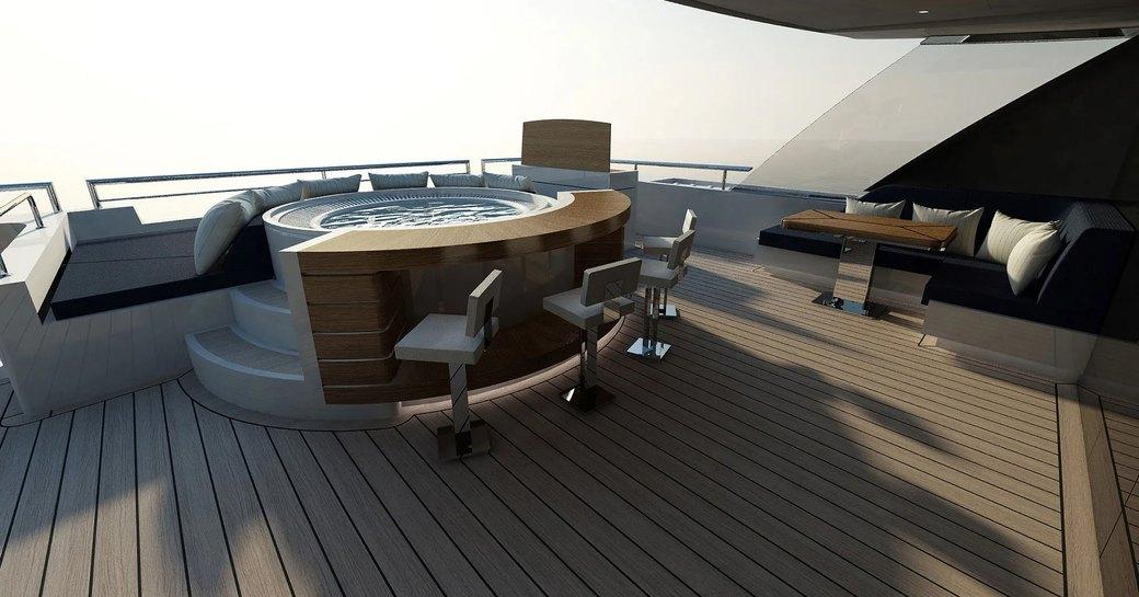 Alfresco deck and jacuzzi on luxury yacht SOARKING