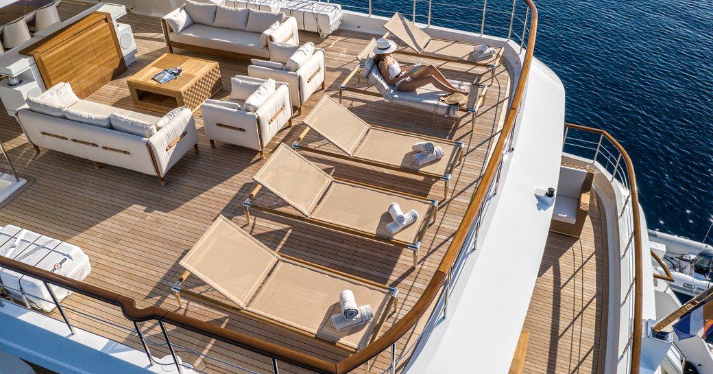 Sun deck on motor yacht sunrise