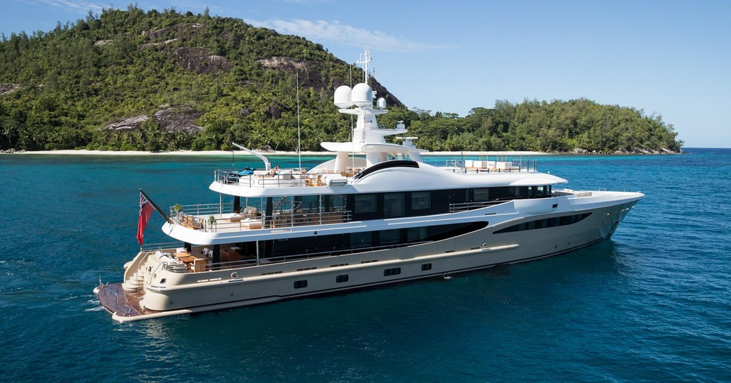 superyacht LILI anchored on a luxury yacht charter in Thailand