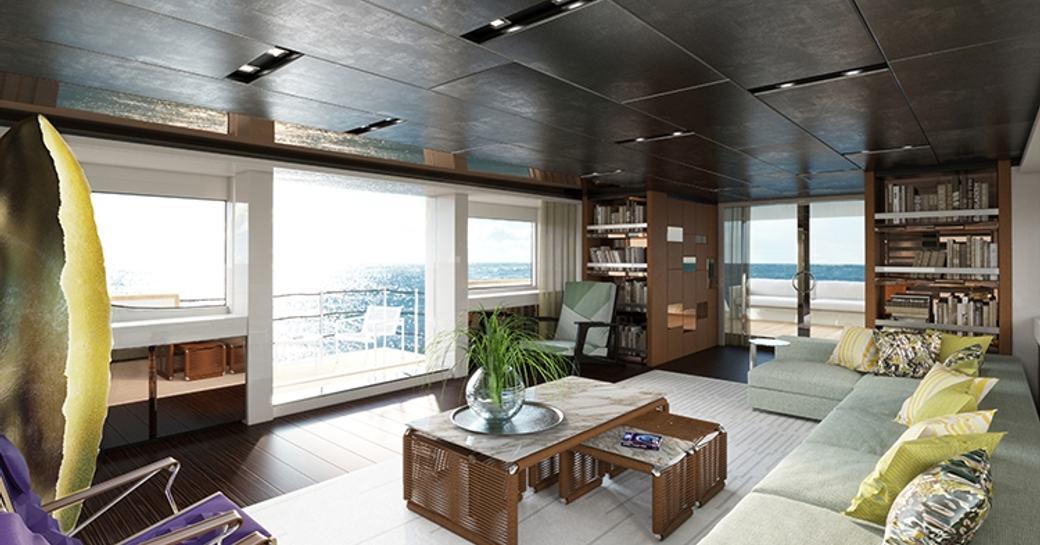 Japanese-inspired main salon on board motor yacht TAKARA