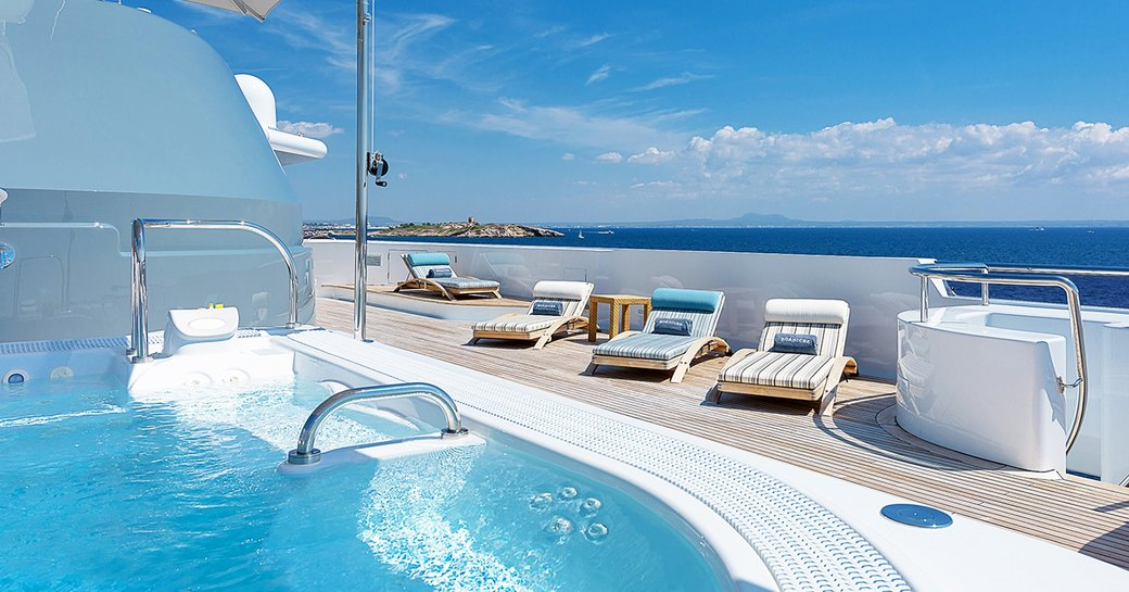 step-up pool and sun-loungers on the sundeck luxury yacht BOADICEA