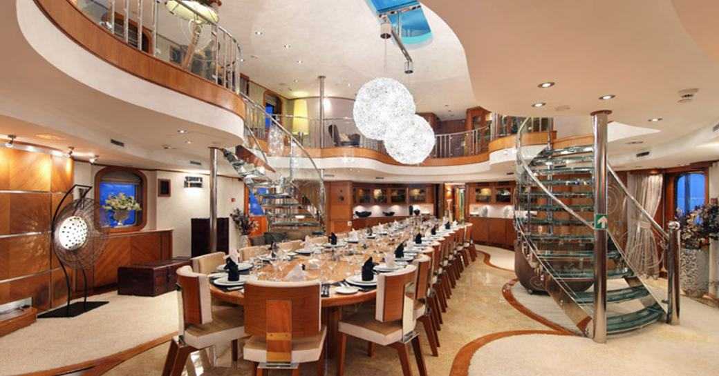 spectacular two-level atrium aboard classic yacht SHERAKHAN