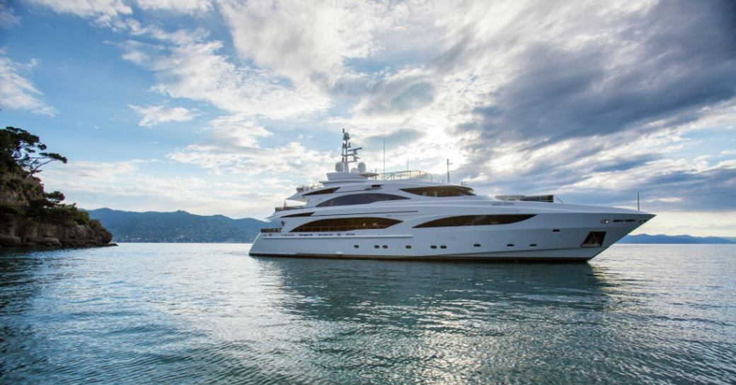 superyacht DIANE anchors during a Mediterranean yacht charter