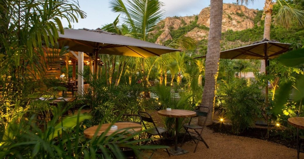 Outdoor tables and green fauna