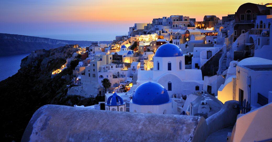 Sunset over Greek Island of Santorinin