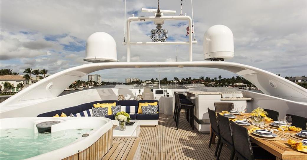 Sun deck on superyacht CHARISMA