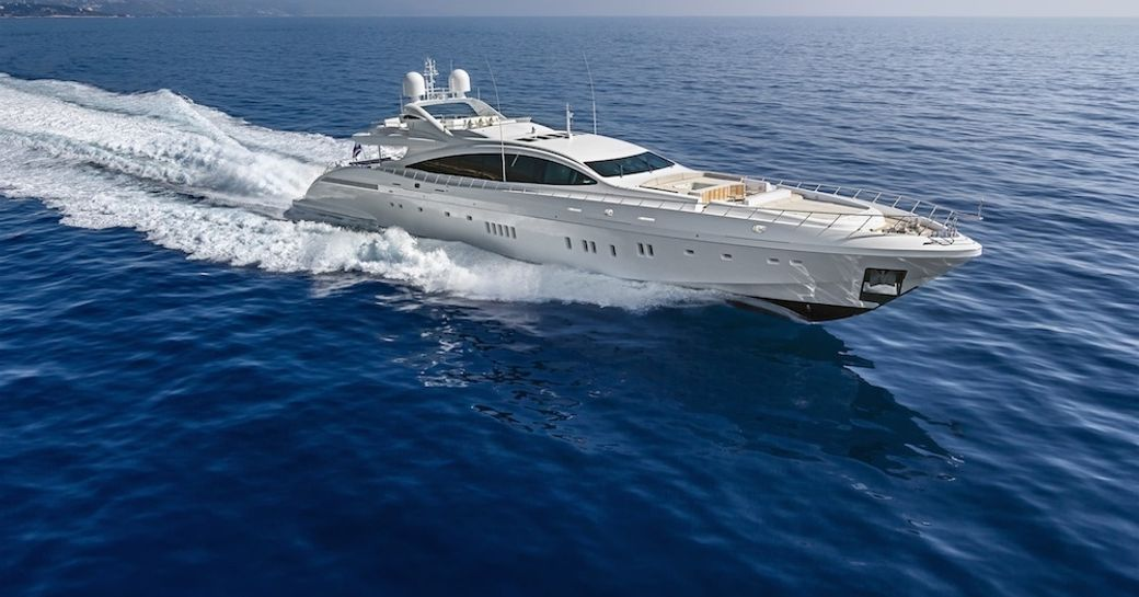 charter yacht MOONRAKER on display at 2015 miami yacht and brokerage show