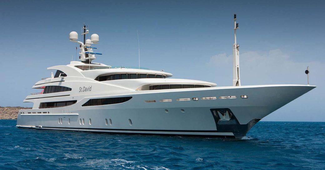 Motor yacht 'St David' sat at-anchor