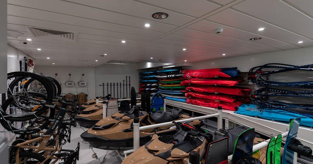storage shed on board luxury yacht la datcha