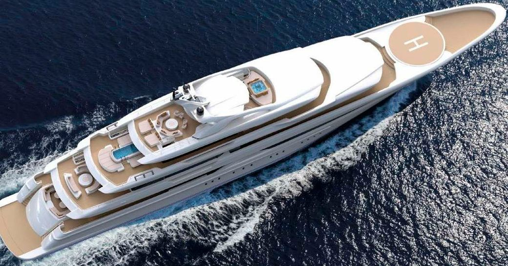 aerial shot of golden yacht's O'pari and her spacious outer decks which feature swim platform alfresco dining area, outer lounging arrangement and helipad