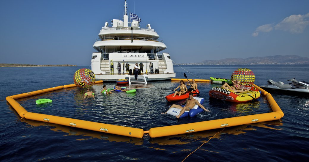 The aft section and toys belonging to luxury yacht O'MEGA