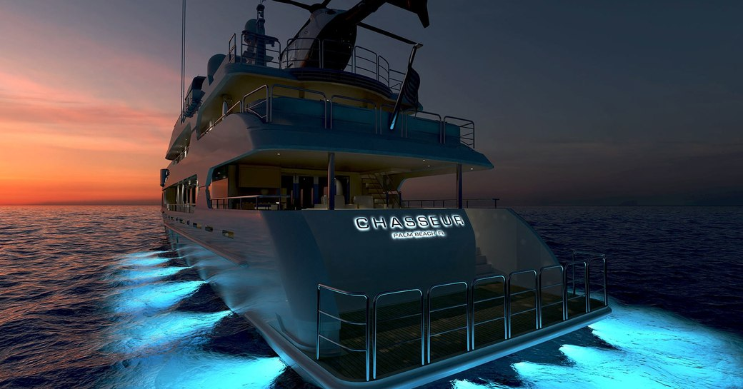 motor yacht CHASSEUR lights up at night in a rendering
