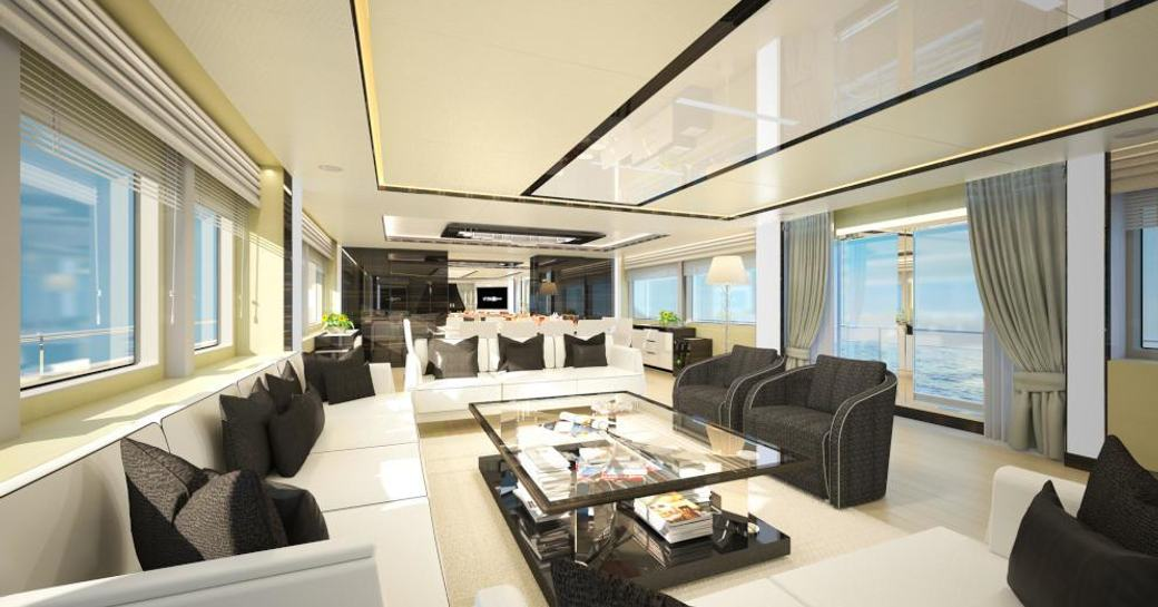 A visual rendering of the interior spaces of M/Y Ghost II