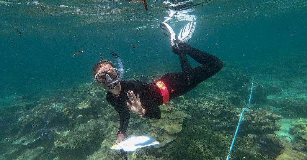 marine biologist rianne laan above her coral nurseries on thanda island