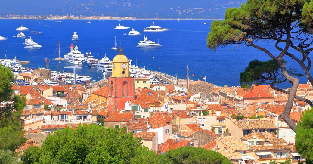 Views across St Tropez old town and the yacht-filled Mediterranean