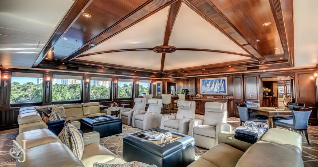 sophisticated and spacious skylounge aboard motor yacht SOVEREIGN