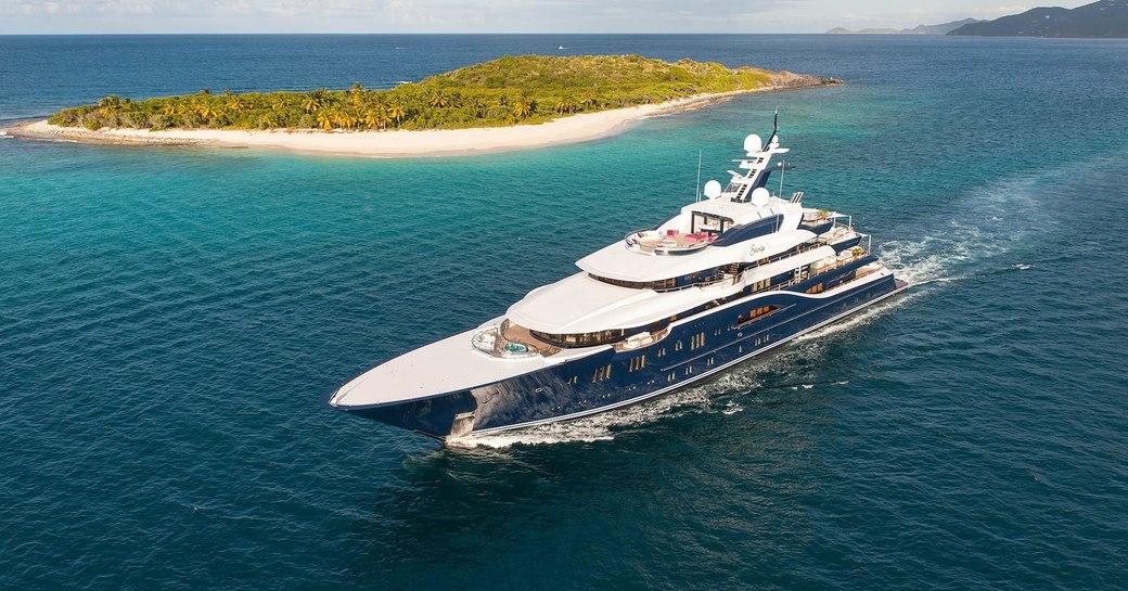 Superyacht SOLANDGE during her first Caribbean charter season