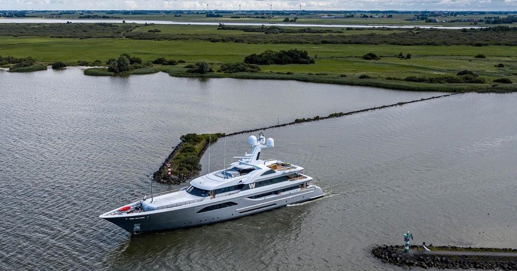 feadship superyacht w underway as she finishes sea trials in the north sea
