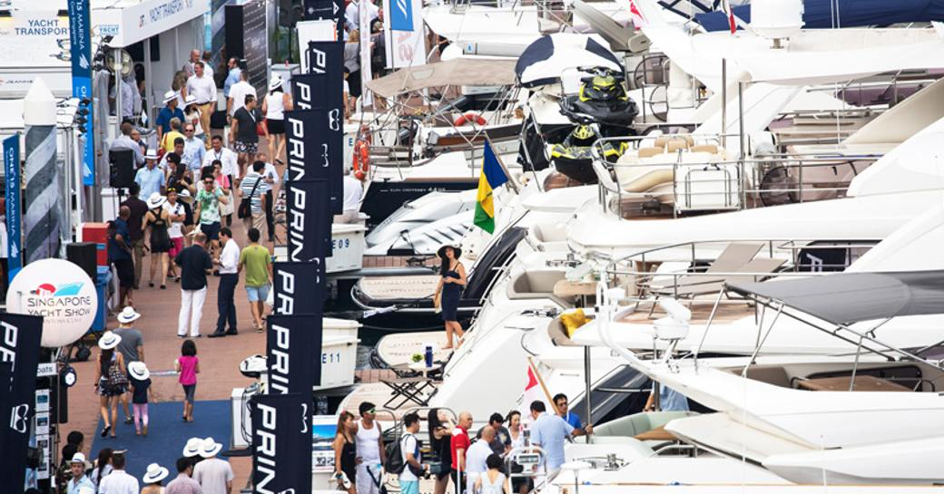 busy boardwalks for the Singapore Yacht Show 2018