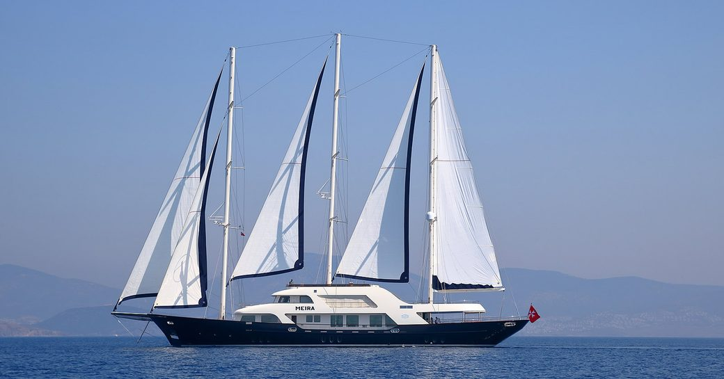 sailing yacht MEIRA at anchor on a Mediterranean yacht charter