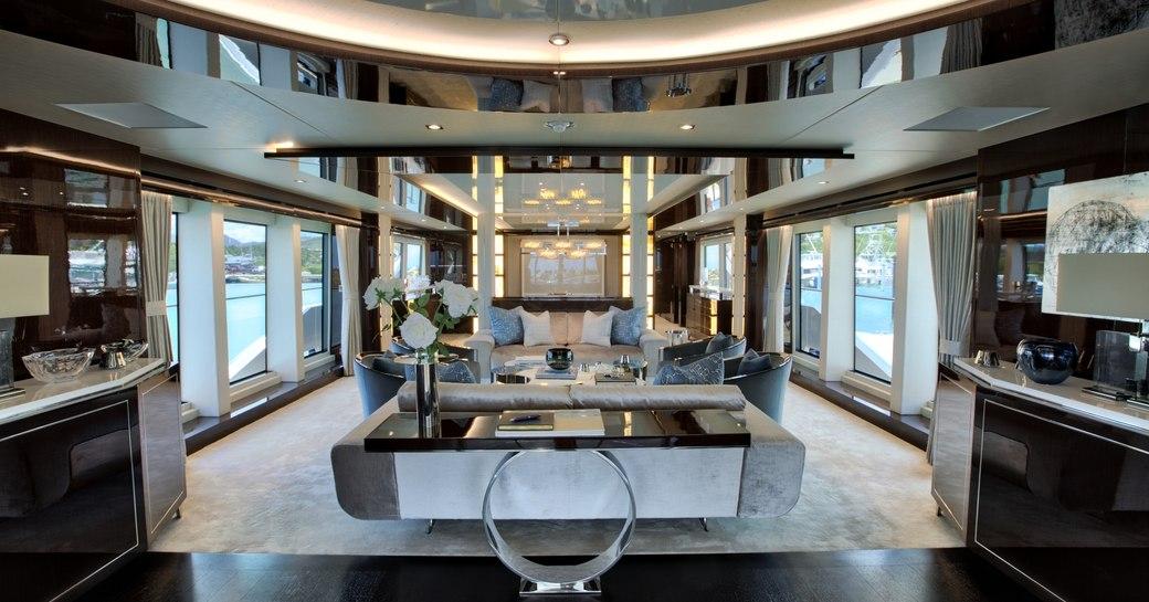 Hamptons Beach Club-style interior aboard motor yacht Take 5