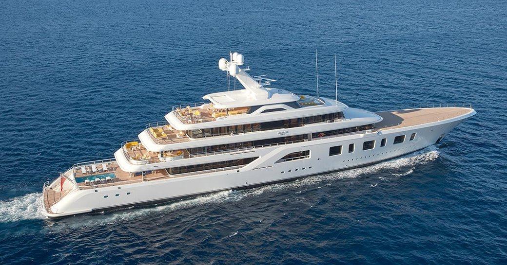 superyacht Aquarius cruising on a Caribbean yacht charter