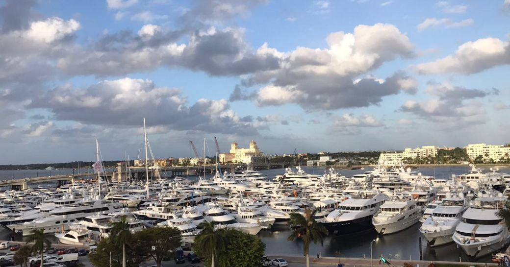 boats and yachts lined up for the Palm Beach Boat Show 2017