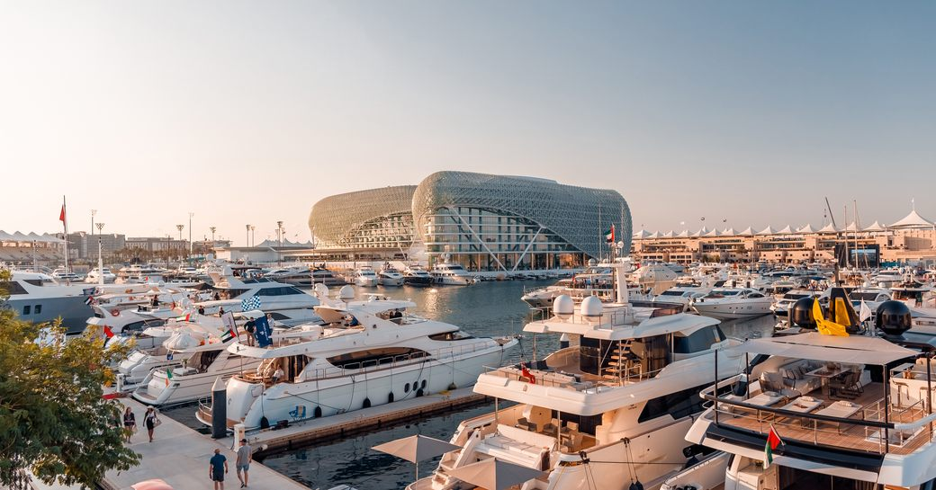 superyachts line up in track-view berths in Yas Marina for the Abu Dhabi Grand Prix