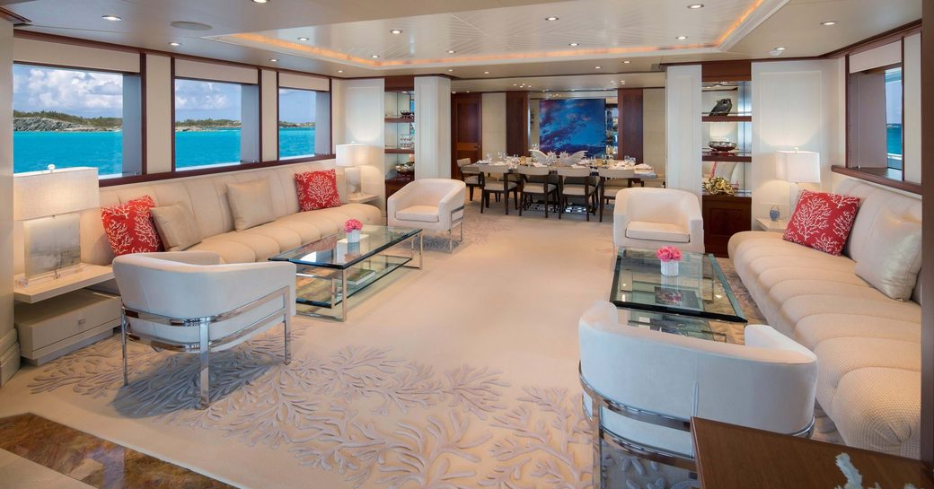 the main salon with plenty of lounging space onc harter yacht time for us