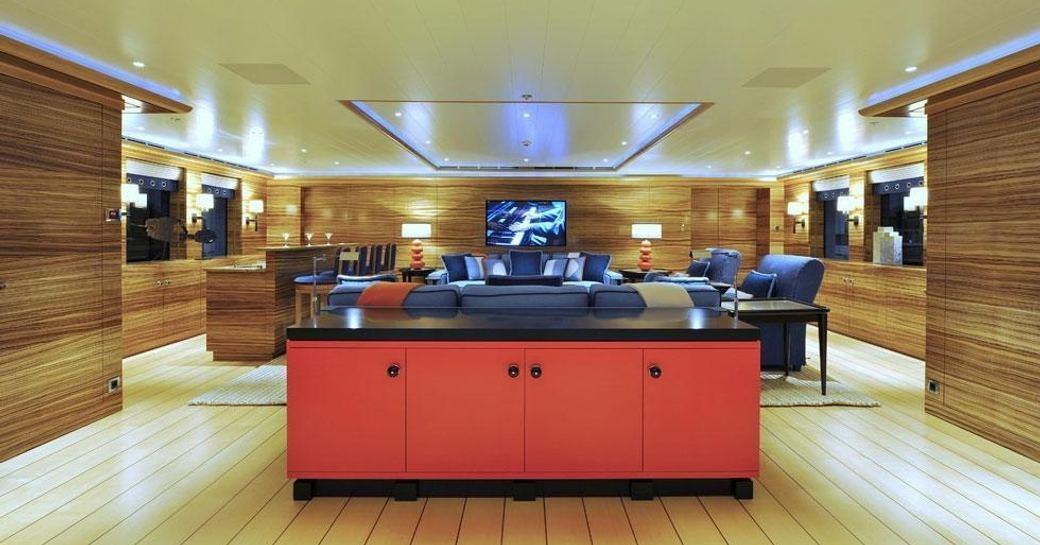 The main salon of luxury yacht TV