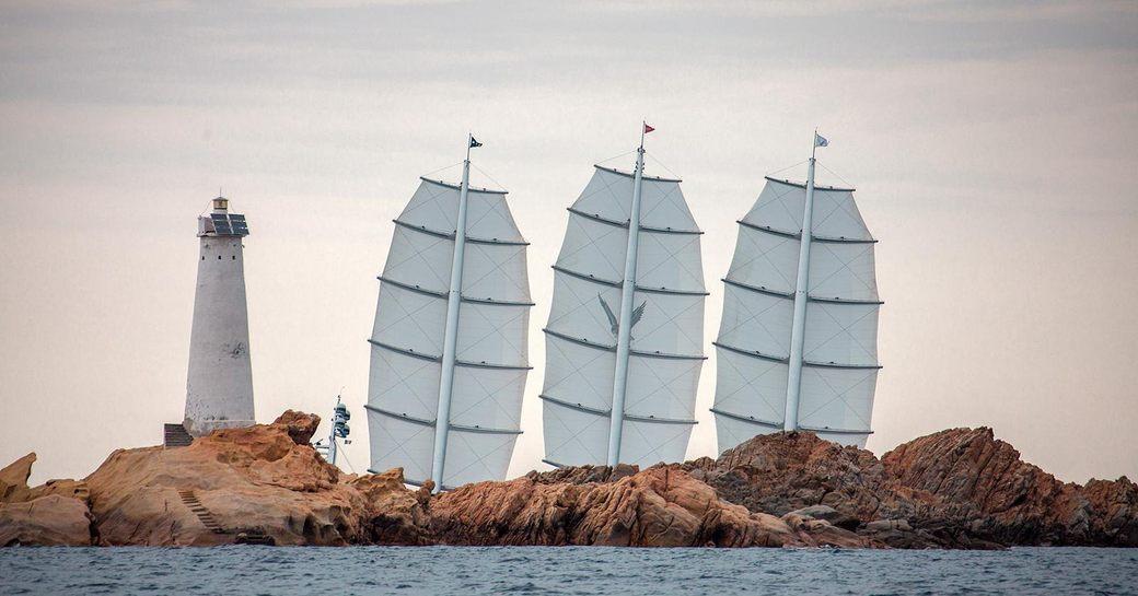 superyacht Maltese Falcon competes at the Perini Navi Cup