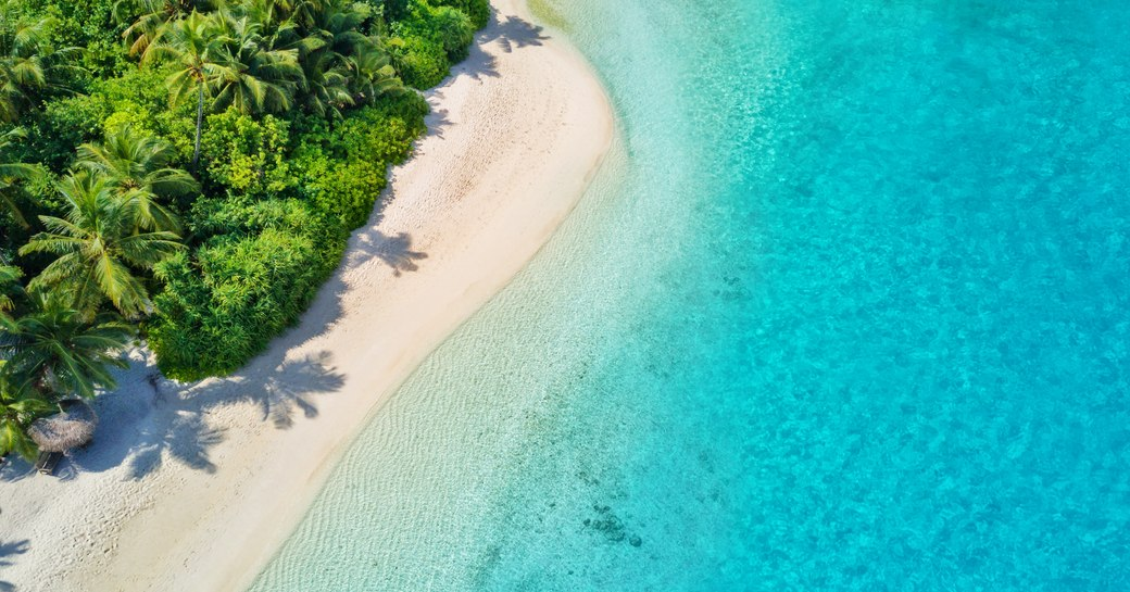 white sand beach lapped by turquoise waters in the Maldives