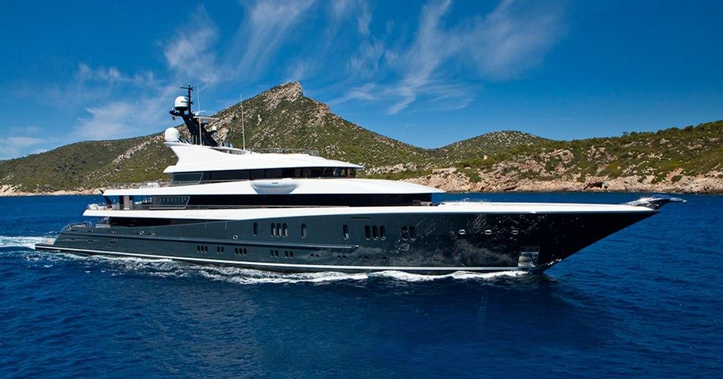 Luxury yacht Phoenix 2 side profile while underway
