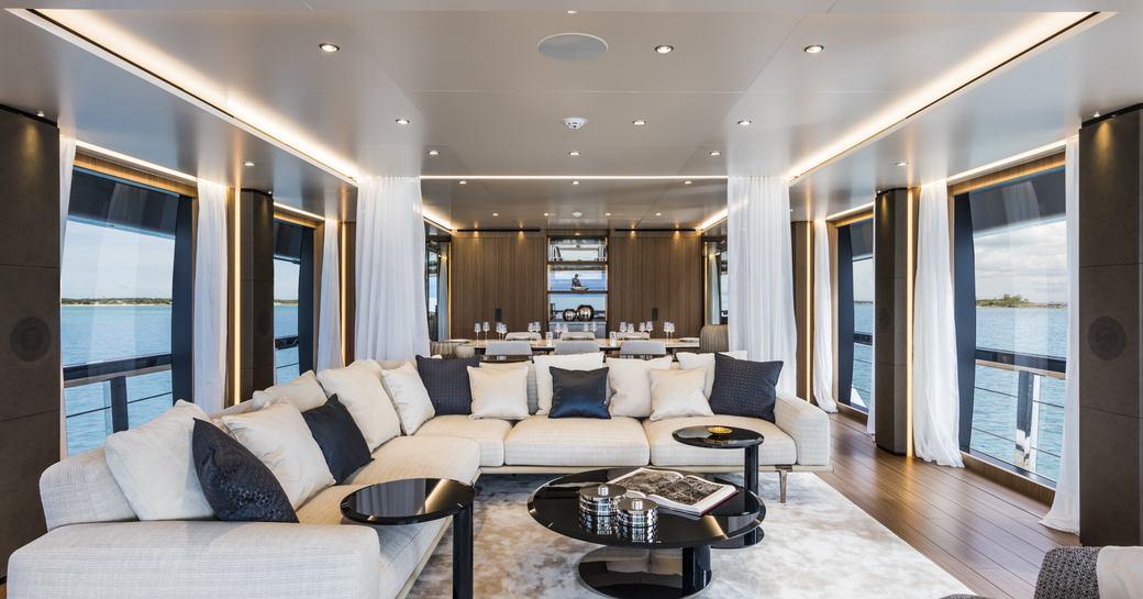 main salon on superyacht vista blue