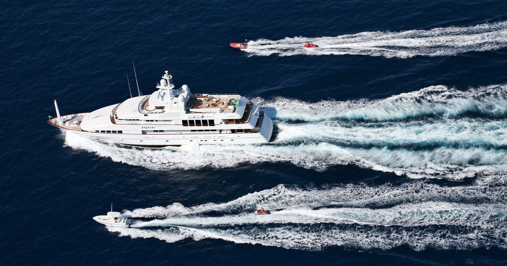 Feadship superyacht PEGASUS whilst underway with tenders