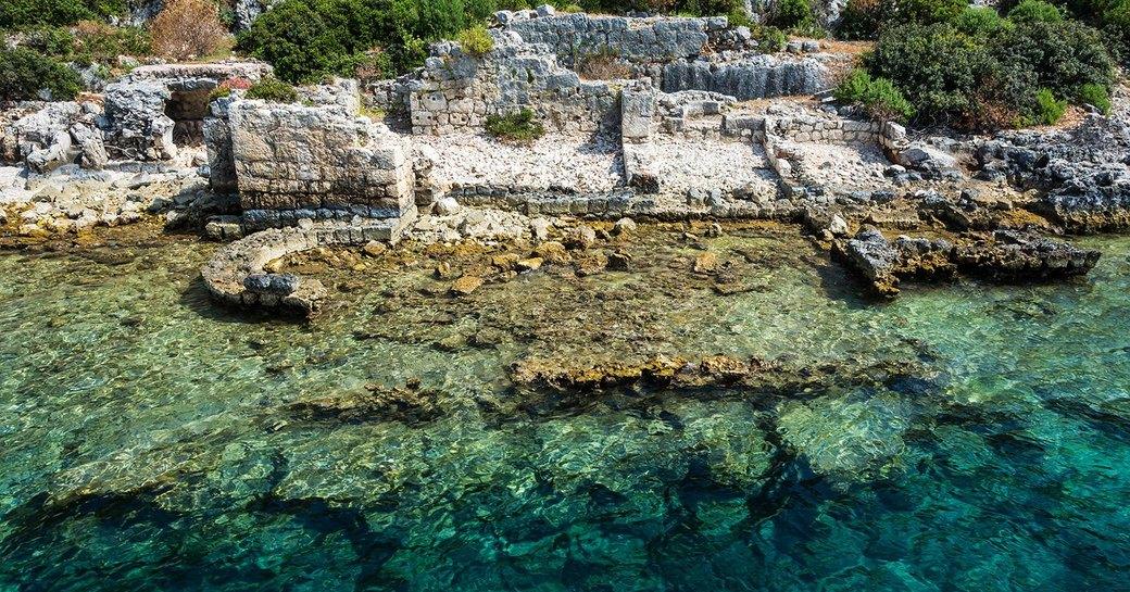 sunken ruins under crystal clear waters of Kekova Island, Turkey