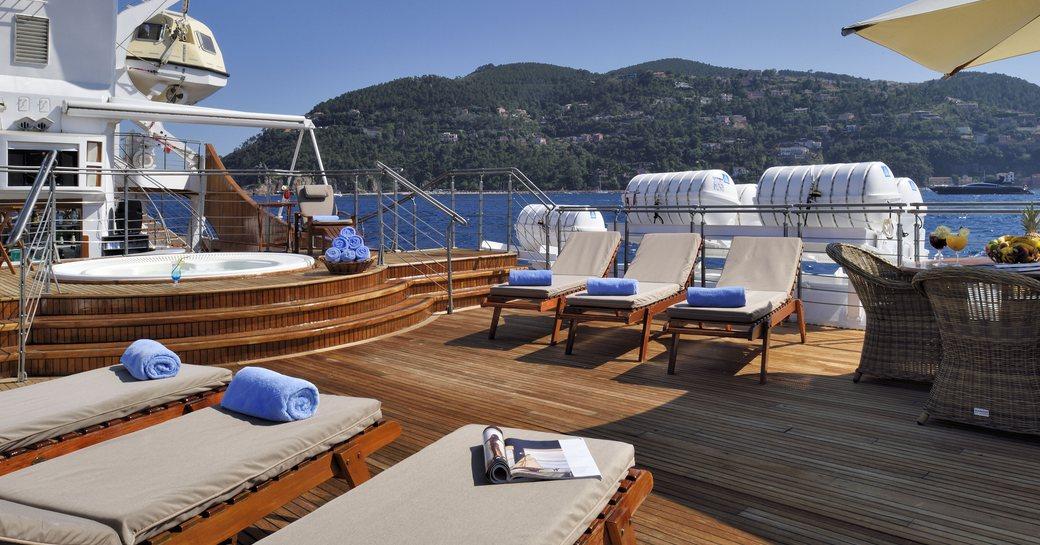 Christina O luxury yacht main deck aft lounging area