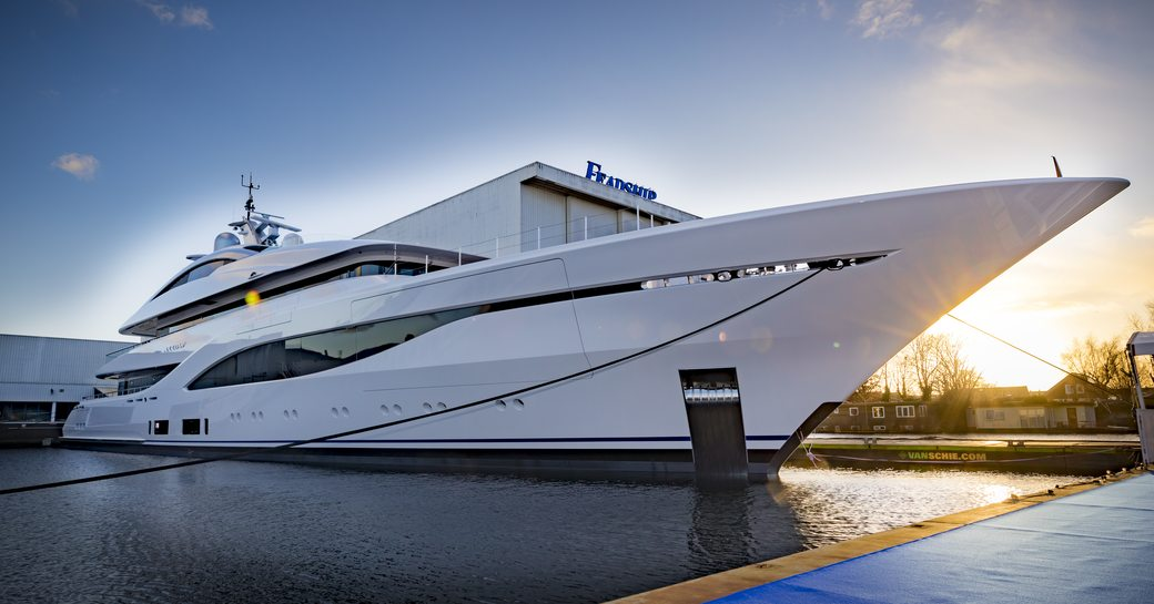 Feadship yacht ARROW outside de vries construction hall