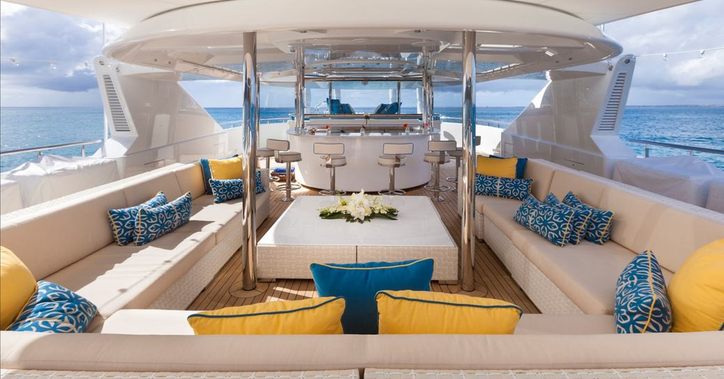 TRENDING superyacht sundeck, with wet bar and lounge area