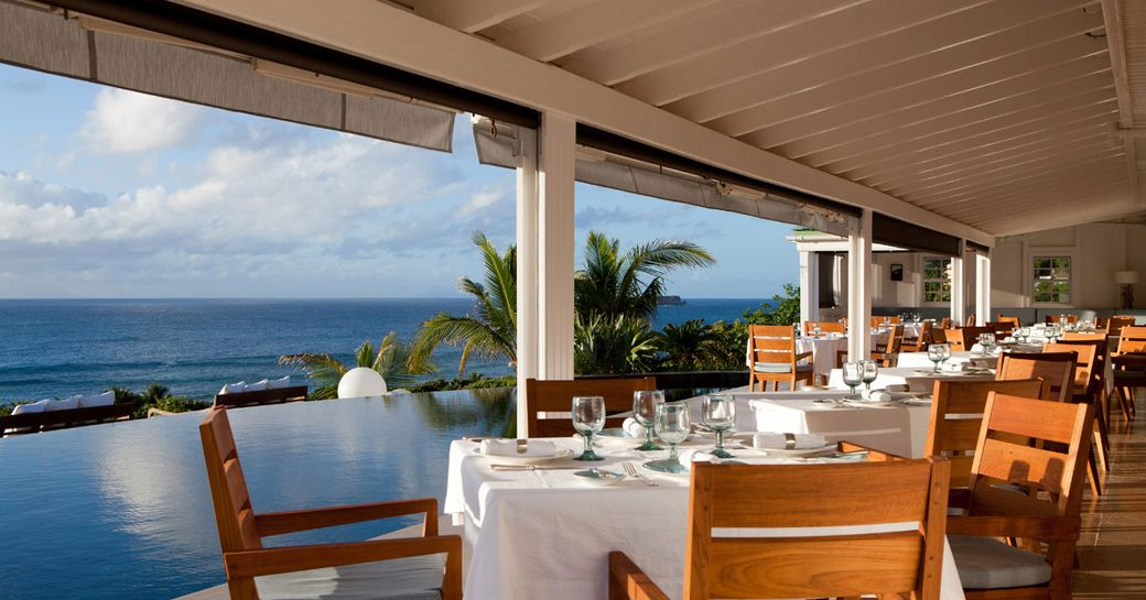 sea-view seating at Restaurant le Gaiac in St Barts