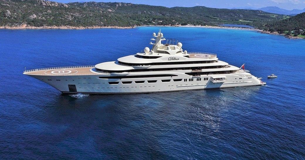 superyacht DILBAR cruising on her maiden voyage int he Mediterranean