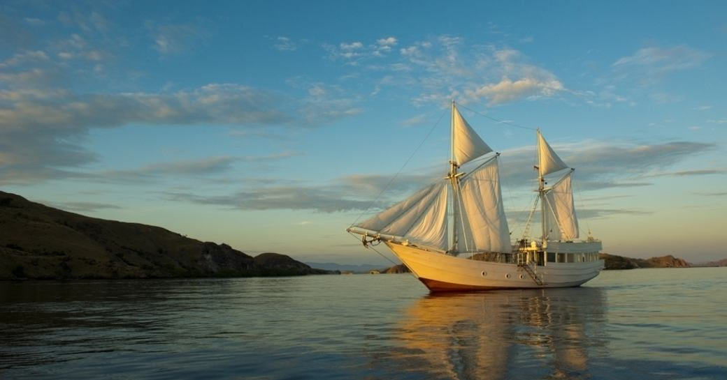 luxury yacht ALEXA anchored in the beautiful waters of Indonesia
