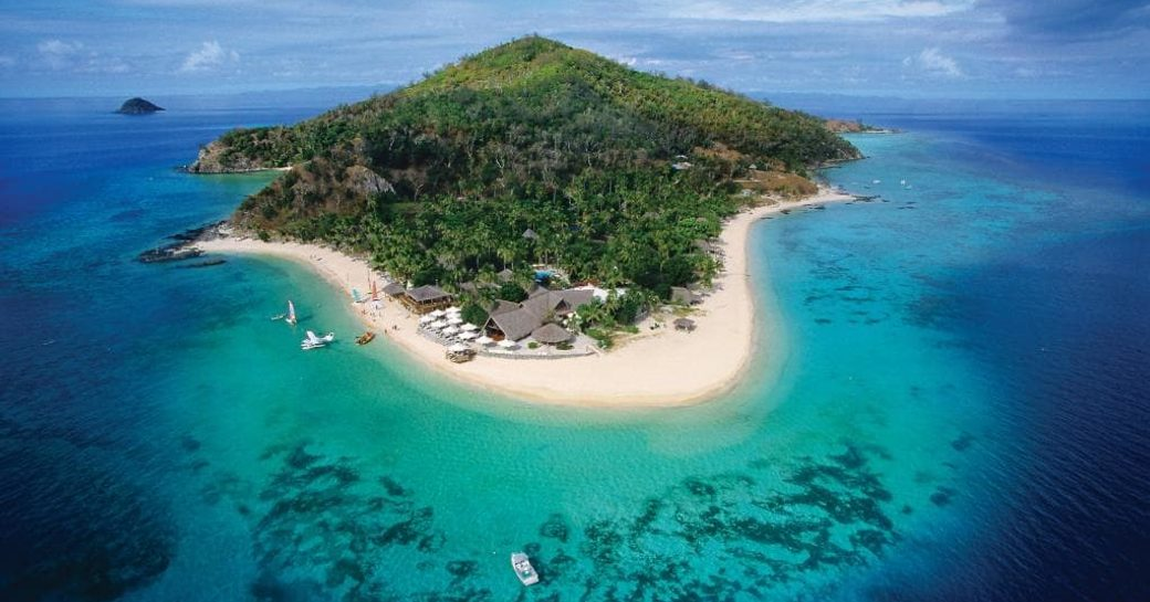 An island in Fiji as seen from above