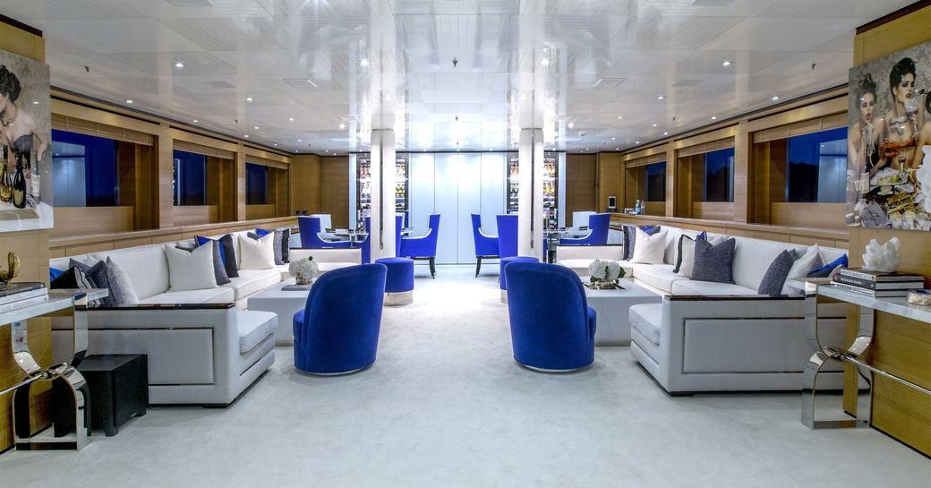 The main salon of luxury yacht MISCHIEF