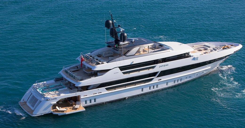 Sanlorenx=zo Lady Lena underway in the Mediterranean on her charter season for summer 2020
