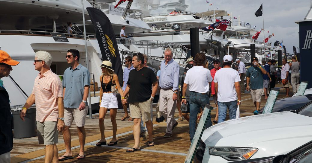busy boardwalks at the Fort Lauderdale International Boat Show