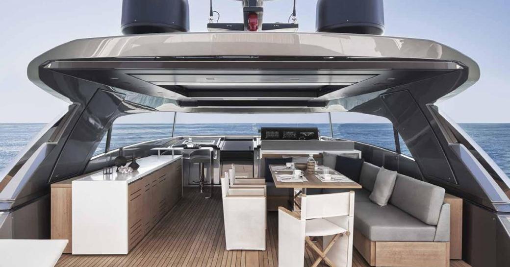 Exterior lounge space onboard motor yacht ocean six