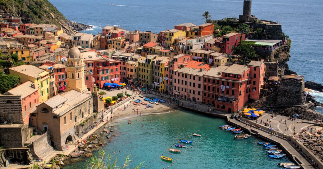 Beautiful pastel-coloured buildings on Italian Riviera