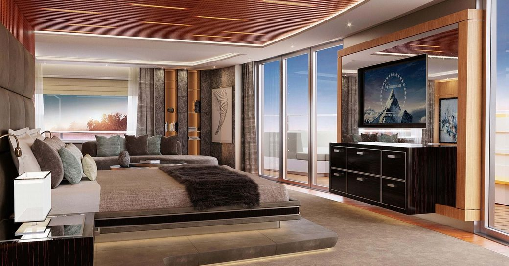 Master suite onboard MY Victorious