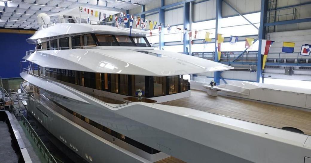 The starboard side of motor yacht JOY